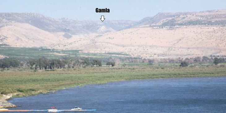 Gamla from across the Kinneret in Capernaum